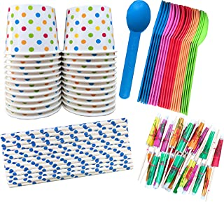 Ice Cream Sundae Kit - 12 Ounce Polka Dot Paper Treat Cups -Heavyweight Plastic Spoons - Paper Straws - Paper Umbrellas - ...