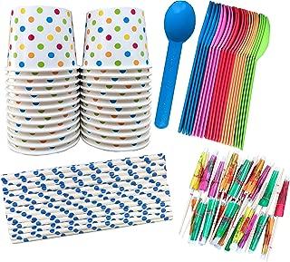Ice Cream Sundae Kit - 12 Ounce Polka Dot Paper Treat Cups -Heavyweight Plastic Spoons - Paper Straws - Paper Umbrellas - 24 Each - Blue, Pink, Orange, Yellow, Green