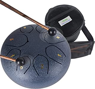 Yeasl Steel Tongue Drum 8 Notes 6 Inch Steel Panda Drum Set Musical Instruments C-Key Handpan Drum With Carry Bag For Kids...