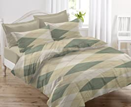 HUESLAND by Ahmedabad Cotton Comfort 144 TC Cotton Double Bedsheet with 2 Pillow Covers - Beige and Green