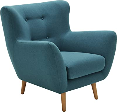 "Amazon Brand – Rivet Isabelle Mid-Century Modern Living Room Chair with Tapered Wood Legs, 35""W, Aqua"