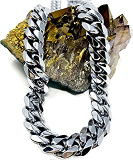 White Gold Cuban Link Chain Necklace for Men Real 9MM 14K Karat Diamond Cut Heavy w Solid Thick Clasp US Made