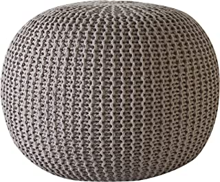 Urban Shop Round Knit Pouf - Hand Woven Cotton, Taupe