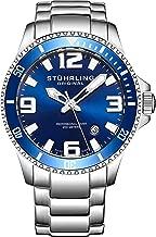 Stuhrling Original Mens Swiss Quartz Stainless Steel Sport Analog Dive Watch, Water Resistant 200 Meters, Blue/Black Dial, Aqua-Diver