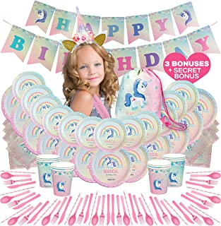 HELLO LITTLE MAGICORN [NEW 2019] - Unicorn Party Supplies, Unicorn Birthday Party Pack/Set, Unicorn Themed Party for Girls, Kids, Toddlers with unicorn Headband, unicorn bag Plates, Cups & MORE- Girls Party Decorations, Serves 12 [Pink]