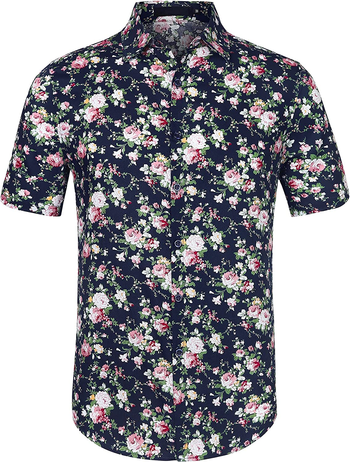 uxcell Men Summer Floral Printed Sleeves Down Button Daily bargain Wholesale sale Shirt Short