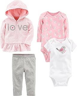 Baby Girls' 4-Piece Jacket, Pant, and Bodysuit Set