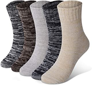 Diravo 5 Pairs Mens Warm Wool Socks Thick Winter Thermal Stripe Wool Crew Socks