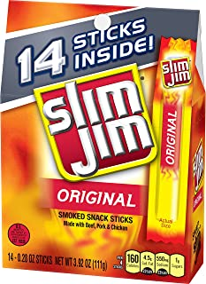 Slim Jim Snack-Sized Smoked Meat Sticks, Original Flavor, Keto Friendly, 0.28 oz. 14-Count