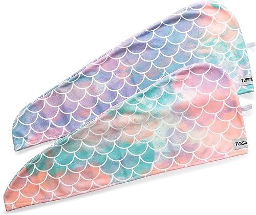 Turbie Twist Super Absorbent Microfiber Hair Towel Wrap - Hands Free Hair Drying Towel - 2 Pack (Mermaid)
