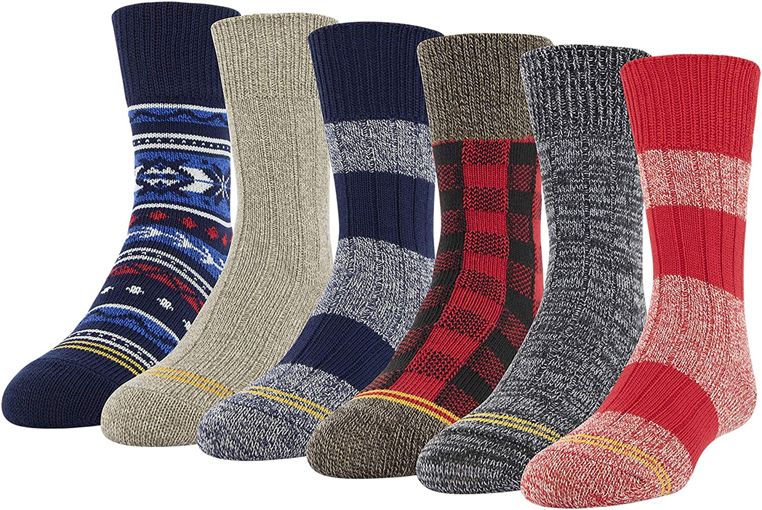 Gold Toe Boys Camp Crew Socks, 6-Pairs, Multicolor, Youth Large