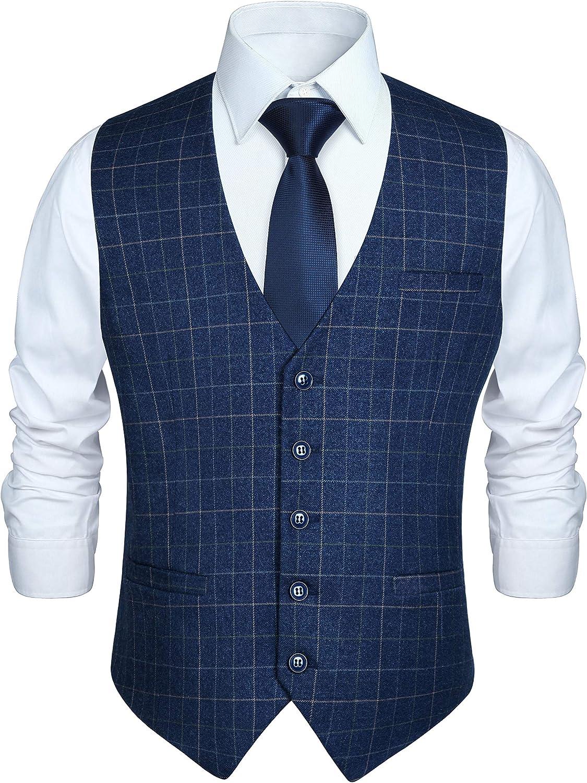Spasm price HISDERN Men's Suit Vest Business Tuxedo Brand new Dress Formal Sl for