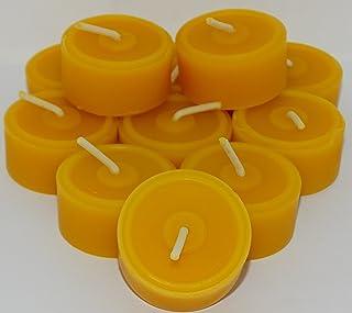 AMA-Feinkost 20 Stück Bienenwachs Teelichter und 4 Glasschalen/Teelichthalter