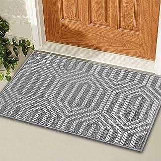 "KMAT Indoor Door Mat and Extra Anti-Slip Gripper Pad, Non-Slip Absorbent Doormat Inside Floor Mats Area Rug for Entryway, Machine Washable Shoe Mat Entrance Rug Outdoor (20""x32"", Grey: Time Cloister)"