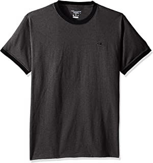 Champion Men's Classic Jersey Ringer Tee, Granite Heather/Black, L