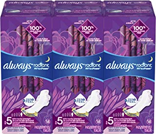 Always Radiant Feminine Pads for Women, Size 5 (Pack of 3), Extra Heavy Overnight, with Wings, Scented, 18 Count, (54 Count Total)