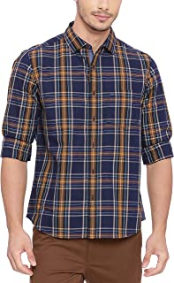 BASICS Slim Fit Amber Yellow Checks Shirt