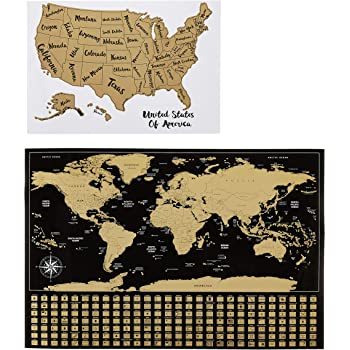 """AmazonBasics Scratch Off Poster of The World Map & The United States Map with Scratcher and Tracking Accessories, 16"""" x 24"""" and 17"""" x 11.8"""""""