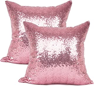 "Best YOUR SMILE Pack of 2 New Luxury Series Pink Bling Decorative Glitzy Sequin & Comfy Satin Solid Throw Pillow Cover Cushion Case for Wedding/Christmas,18"" x 18"" Reviews"