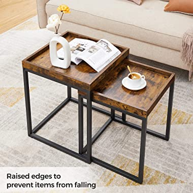 VASAGLE Coffee Tables, Set of 2 Side Tables, End Tables with Raised Edges, Nesting Tables for Living Room, Industrial Rustic