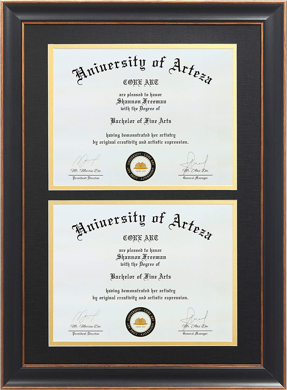 CORE ART Double Diploma Frames 14x20 Fits Miami Mall 8.5x11 OFFicial mail order Certif Inch Two