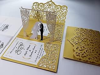 Pop up Wedding Invitation Pocket-Folds with Envelope. Unique and Elegant Laser Cut 3D Design by Tada Cards. Gold Chandelier (10-Pack)