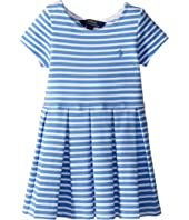 Polo Ralph Lauren Kids Striped Ponte Pleated Dress (Toddler)
