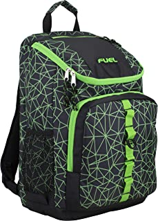 Top Load Sport Backpack with Side Tech Compartment and Ergonomic Padded Mesh Breathable Back, Black/Lime Sizzle/Shuttered Geo Print