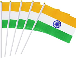 Kind Girl 25 Pack Hand Held Small Mini Flag India Flag Indian Flag Stick Flag Round Top National Country Flags,Party Decorations Supplies for Parades,World Cup,Festival Events,International Festival