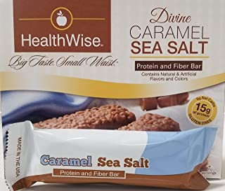 Healthwise - Divine Caramel and Sea Salt   Gluten Free Diet Snack Bars   Hunger Control and Appetite Suppressant High Protein, Low Fat, Chol Free, Low Net Carbs, High Fiber (7 Bars)