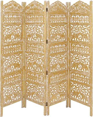 Amazon Com Deco 79 Traditional Carved Wood 4 Panel Room Divider 72 H X 80 L Weathered Gold Finish Furniture Decor