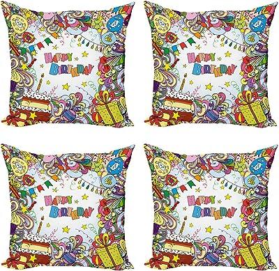ABAKUHAUS Anniversaire Lot de Housses de Coussin en 4 pièces, Coloré Party Cartoon, Impression Numérique Recto-Verso Moderne, 60 cm x 60 cm, Multicolore