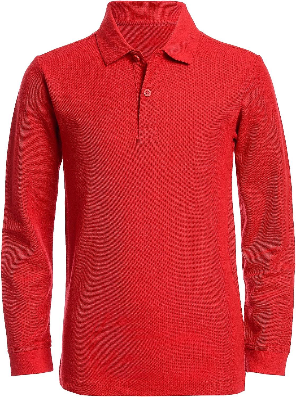 Nautica Boys' School Uniform Long Sleeve Polo Shirt