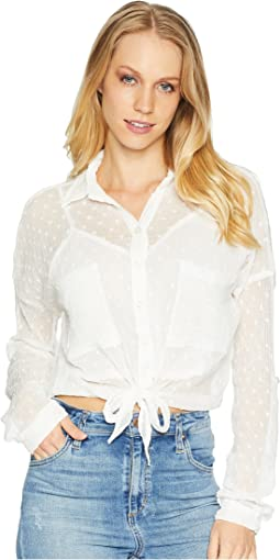 Long Sleeve Lace Button Up Crop Top
