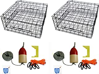 "KUFA 28"" Vinyl Coated Crab Trap Accessory Kit (100' Lead Corerope, Clipper, Bait Case & 14"" Float) (2 Pack)"