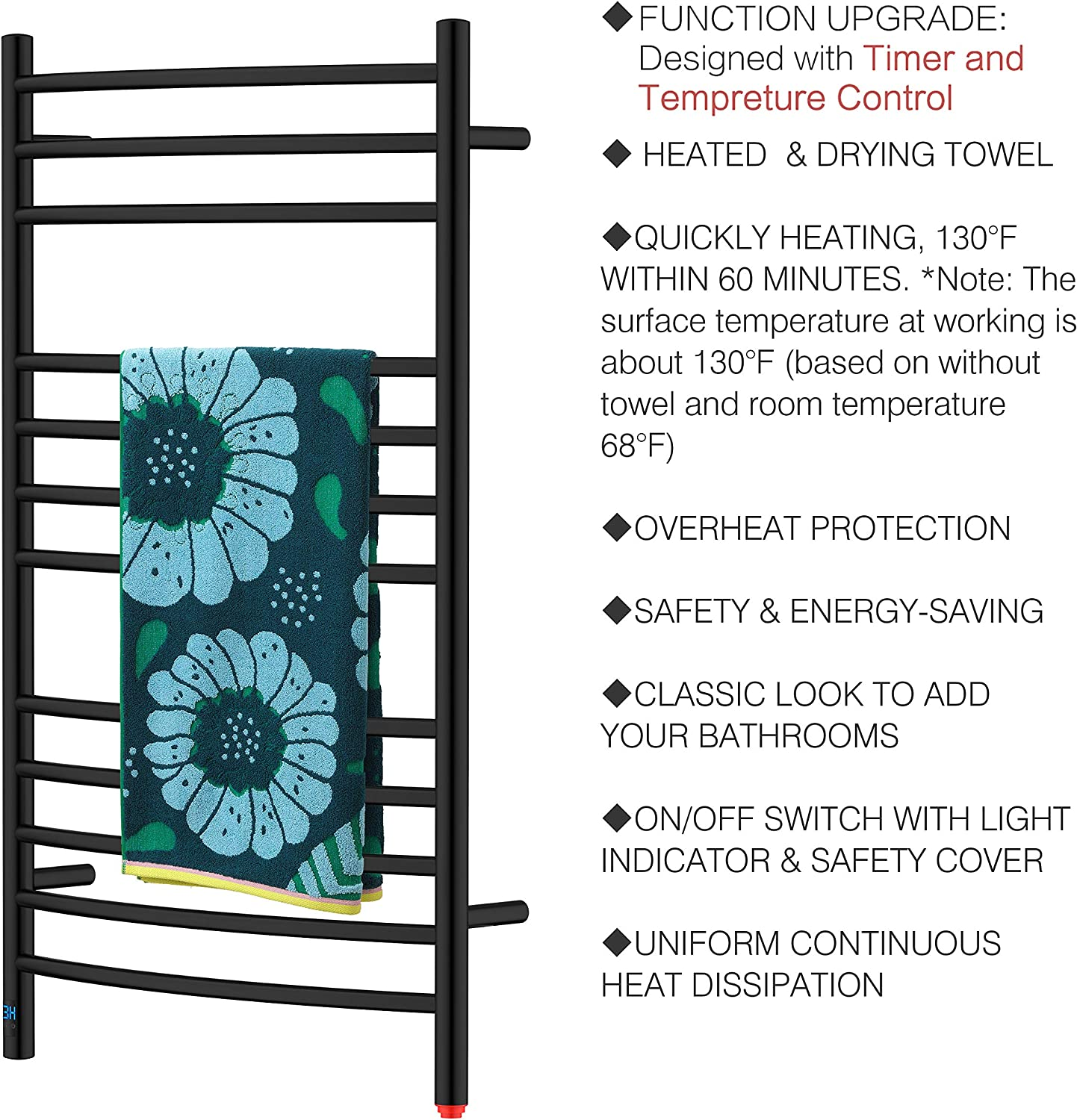 HEATGENE Towel Warmer with Timer Wall-Mounted Temperature controllable Towel Racks with Built-in Timer Plug-in//Hardwired Electric Towel Rails Electric Towel Warmer with Large 12 Bars Brushed