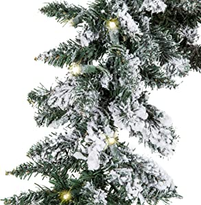 Best Choice Products 9ft Pre-Lit Snow Flocked Festive Artificial Christmas Garland Holiday Decoration w/ 100 Clear LED Lights, Green