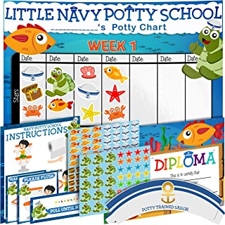 Potty Training Chart for Toddlers - Sea Theme - Sticker Chart - Celebratory Diploma, Crown and Book - 4 Week Potty Chart for Girls and Boys - Potty Training Sticker Chart