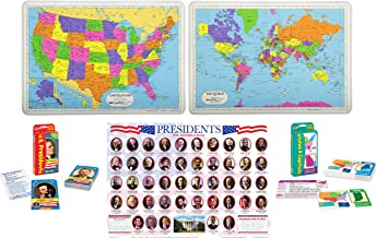 Laminated Educational Placemats for Kids: US Presidents, USA Map, World Map with Pocket Flash Cards: US States and Capitals, United States Presidents | Set of 5 Items