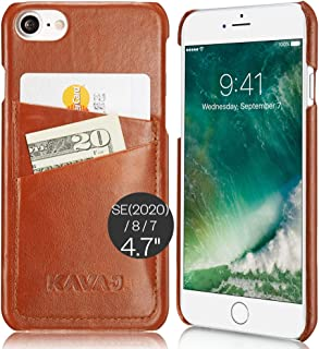"""KAVAJ Case Compatible with Apple iPhone SE (2020), 8, 7 4.7"""" Leather - Tokyo - Cognac Brown Wallet Cover Bumper with Card ..."""
