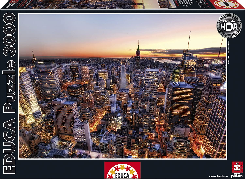 Educa 14824 - Puzzle - Sonnenuntergang In Manhattan, New York - HDR, 3000-Teilig