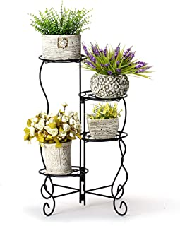 Worth 4-Tier Upgraded Heavy Duty Plant Stand & Flower Pot Holder Garden   Modern Indoor & Outdoor Home Décor   Weather Resistant (Black) Very Sturdy & Well Made