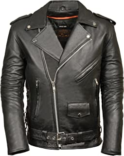 Milwaukee Men's Classic Side Lace Motorcycle Jacket (Black, XX-Large-Tall)