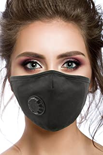 Air Pollution Cotton Face Mask - 4 Carbon Filters and Respirator Valve - Anti-Dust, Smoke, Allergies, Gas, Germs and Flu - Washable and Reusable - Travel Breathing Clean Air - N99 Protection - Black