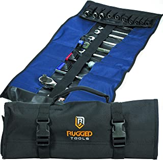 32 Pocket Tool Roll Organizer - Wrench Organizer & Tool Pouch - Wrench Roll Includes Pouches for 10 Sockets - Roll Up Tool...
