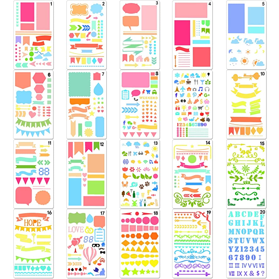 20 Pieces,Over 1000 Different Patterns of Journal Stencil Painting Stencil Letter Stencil Planner Stencil for DIY Craft,Scrapbooking and DIY Craft