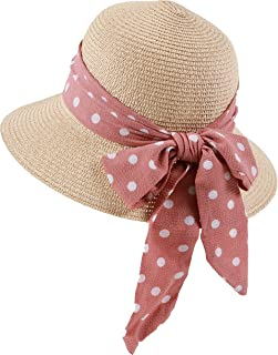 Gerenic Girls Summer Straw Hat Large Wide Brim Adjustable Bow Travel Beach Hat Multiple Colors