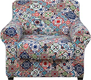 hyha Printed Couch Chair Cover - Floral Pattern Sofa Cover with Separate Cushion Cover, 2 Piece Stretch Armchair Slipcover Washable Furniture Protector (Armchair, Patchwork Moroccan)