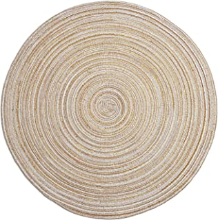 LOHAS Home Round Place Mats Pack of 6 Washable Heat Resistant Table Mats(Beige)
