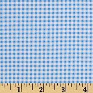 Mook Fabrics Gingham Flannel Fabric, Aqua, Fabric By The Yard